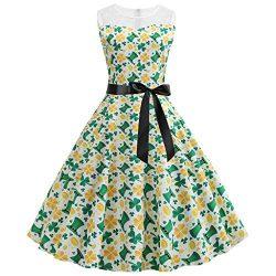 Euone ❀Dress, St. Patrick's Day Women Vintage 1950s Retro Shamrock Sleeveless Prom Swing Dress