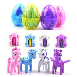 QingQiu 4 Pack Jumbo Unicorn Deformation Easter Eggs with Toys Inside for Kids Boys Girls Easter ...