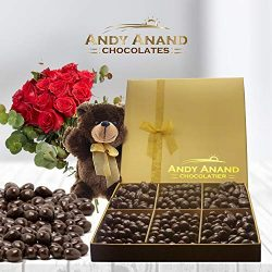 Andy Anand's Dark Chocolate Gift Basket, Plush Teddy Bear 2 Pounds of Almonds and Blueberr ...