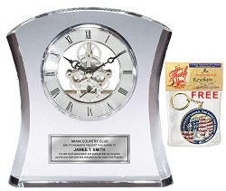 Tower Da Vinci Crystal Clock with Silver Dial and Silver Engraving Plate Personalized Desk Clock ...