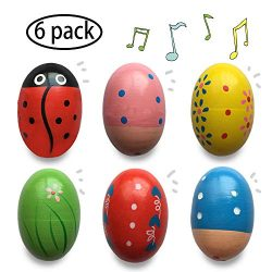 Jofan 6 Pack Wooden Percussion Musical Shake Egg Easter Egg Shakers for Kids Boys Girls Toddlers ...