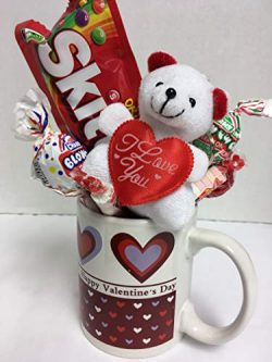 Valentine's Day Gift for Her (1) Happy Cup (1) Teddy Bear (1) Assorted Goodies I Love You  ...