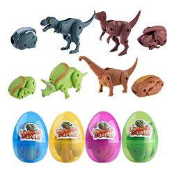 QingQiu 4 Pack Jumbo Dinosaur Deformation Easter Eggs with Toys Inside for Kids Boys Girls Easte ...