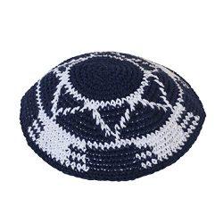 KIPPIK Star Of David Jewish KippahHatFor Men & Kids With Clip Beautifully Knitted, Breathabl ...
