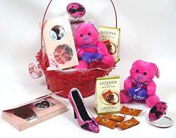 Jacki Design Valentine's Gift Basket, Includes Chocolate, Jewelry Set, Dark Pink Shoe Jewe ...