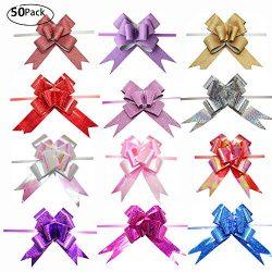 String Bows, Basket Pull Bows, MeetRade 4'in 50PACK Elegant Gift Basket Wine Bottles Floral Pull ...