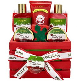 Bath and Body Christmas Gift Basket For Women and Men – Cherry Twinkle Bell Home Spa Set, Includ ...