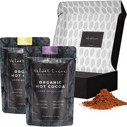 Hot Chocolate Gift Sets Box | Organic Cocoa Mix 2 Flavors Dark Chocolate & Hazelnut Packaged ...