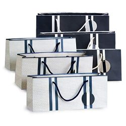 Wine Gift Bags – White with Basket Weave Pattern (3) and Navy Stripes (3) Purse Style by Simply  ...