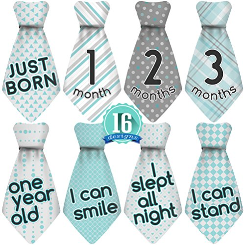 Original Stick'Nsnap (TM) 16 Baby Monthly Necktie Onesie Stickers – 'Happy Pat ...