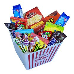 Deluxe Sweet Treats Movie Night Popcorn and Candy Gift Basket Includes Gourmet Butter Flavored P ...