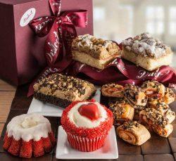 Valentines Day Basket-Filled with a Delightful Assortment of Valentine Red Velvet Cupcake, Glaze ...