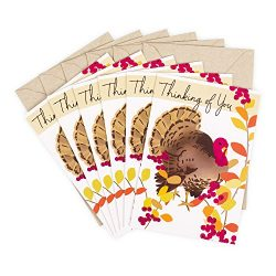 Hallmark Pack of Thanksgiving Cards, Turkey (6 Cards with Envelopes)