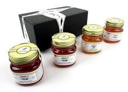 Anna's Gourmet Raw Honey 4-Flavor Variety: One 12 oz Jar Each of Blackberry, Clover, Wildf ...