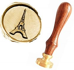 MNYR Vintage The Eiffel Tower Gift Cards Sealing Art Wax Seal Stamp Rosewood Handle Decorative W ...