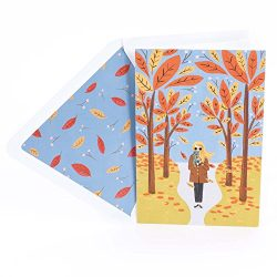 Hallmark Signature Thanksgiving Card (Girl with Coffee in Fall Scene)