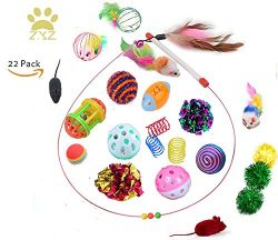ZYZ–Cat Toys 22 Pack Assorted Pet Cat Toys Collection Play Set Interactive Toys for Cats,  ...