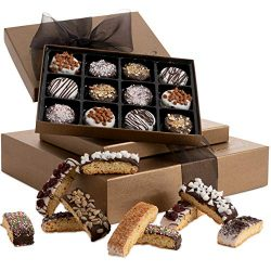 Barnett's Chocolate Cookies & Biscotti Gift Basket Tower, Unique Holiday Gourmet Cooki ...