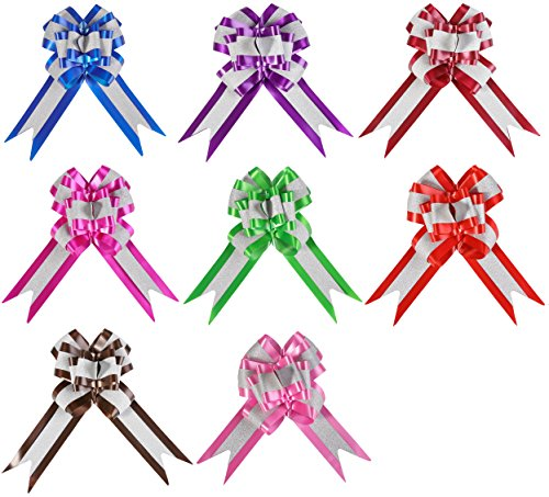 Gift Wrap Ribbon Pull Bows-Set of 8,Assorted Colors for Christmas Gifts, Baskets, Wedding Decora ...