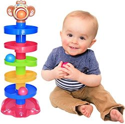 CC O Play Monkey Ball Drop Toy for Babies and Toddlers | New 6 Layer Tower Run with Swirling Ram ...