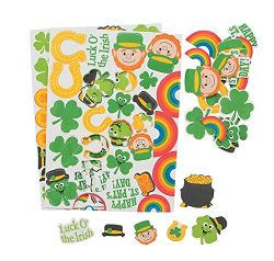St. Patrick's Day Self-Adhesive Foam Shapes Stickers – Two (2) Sheets – 50+ Peel Off ...