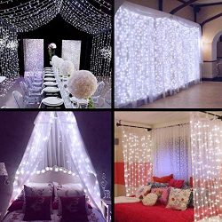 MZD8391 Curtain String Lights, 9.8 X 9.8ft 304 LED Starry Fairy Lights for Wedding, Bedroom, Bed ...