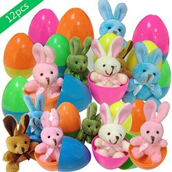 """Plush Bunny Filled Colorful Easter Eggs,12 Pcs Filled Easter Eggs with 3"""" Colorful Plush B ..."""