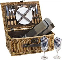 HappyPicnic Wicker Picnic Basket for 2 Persons with Cutlery Service Set, Willow Hamper Supplies  ...