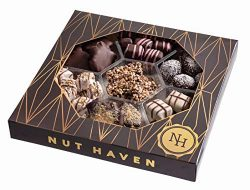 Nut Haven Gourmet Assorted Chocolate Gift Basket/Box ~ Variety of 7 Section Chocolate Tray ~ Gre ...