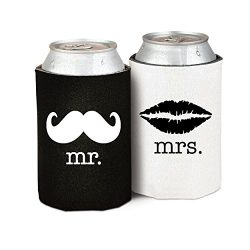Mr. and Mrs. (Front/Back Print) Wedding, Anniversary, Newlywed, Bridal Shower Can Cooler Gift Se ...