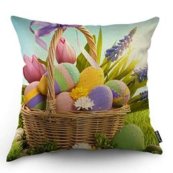 Moslion Easter Throw Pillow Case Happy Easter Basket of Colorful Eggs with Polka Dot Flowers Lea ...