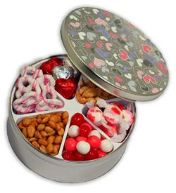 Valentines Day Gift Basket Filled with Assorted Candies, Chocolates, Nuts, Sweet Treats for Men  ...