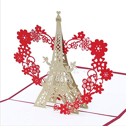 3D Greeting Card Valentines Gift Card Handmade Pop Up Garland Tower Postcard with Matching Envel ...