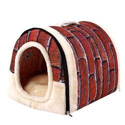Pet Dog Cat Bed,Vanvler Cute Soft Kennel Warm House Igloo Basket Kennel Washable Snug for Pet (M ...