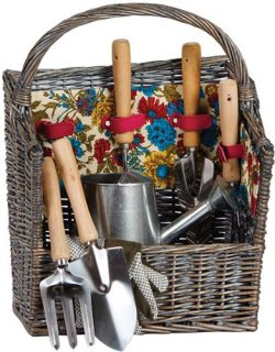 Picnic Plus 8 Piece Garden Tool Set with Vintage Willow Basket April Cornell Design