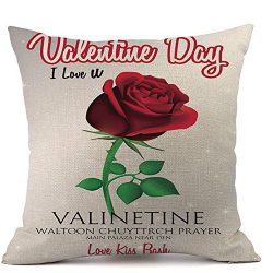 MaxFox Happy Valentine's Day Pillow,45cm45cm Square Romatic Throw Cases Cafe Sofa Cushion ...