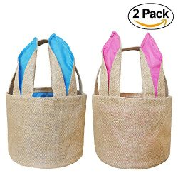 Easter Bunny Basket Egg Baskets for Kids with Cross-Stitch Line Burlap Gift Bag Round Tote Jute  ...