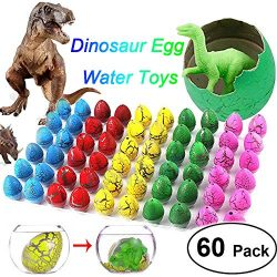 60 Pack Crack Easter Dinosaur Eggs Novelty Magic Water Toys Filled with Mini Dinosaur Toys That  ...