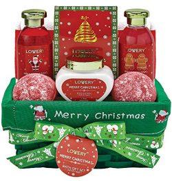 Bath and Body Christmas Gift Basket For Women – Strawberry & Sandalwood Fragrance – Ho ...