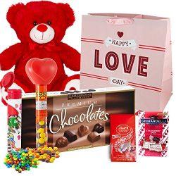 Valentines Day Gift Basket Set | 12 Inch Teddy Bear Plush, Lindt Lindor Milk Truffles, Hershey R ...