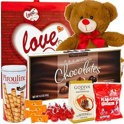 Valentines Day Gift Basket Set | 12 Inch Teddy Bear Plush(COLOR VARYS), Hershey Kisses, Piroulin ...