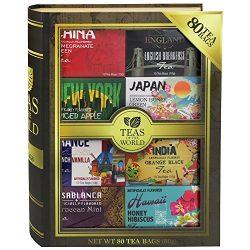 Teas of the World | 80 Tea Bags Featuring 8 Unique Flavors with Black Tea, Honey Hibiscus Tea, a ...
