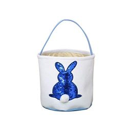 Celendi Egg Basket Gift Easter Egg Basket Holiday Rabbit Bunny Printed Canvas Gift Carry Eggs Ca ...