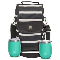 One Savvy Girl Wine Tote Bag with Stainless Steel Stemless Wine Glasses – 2 Bottle Wine Ca ...