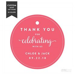 Andaz Press Personalized Circle Gift Tags, Wedding, Thank You for Celebrating With Us, 24-Pack & ...