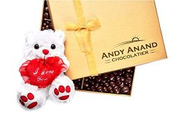 Andy Anand's Chocolate covered Almonds & I love You Teddy Bear in Gift Basket 1 lbs, Birthda ...