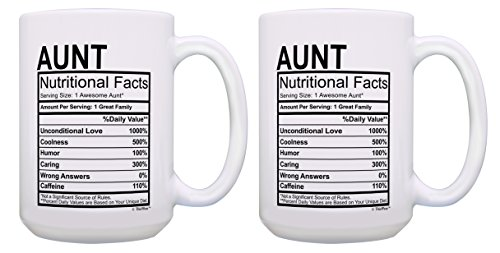 Aunt Gift Set Aunt Nutritional Facts Great Cute Aunt Gifts Aunt Niece Gifts 2 Pack Gift 15-oz Co ...