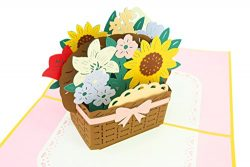 PopLife Flower Basket 3D Thank You Pop Up Card – Anniversary Pop Up Mother's Day Car ...