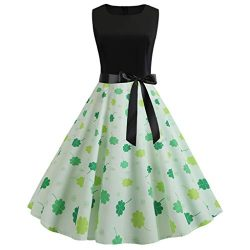 EuoneDress Clearance Sales, St. Patrick's Day Women Vintage 1950s Retro Shamrock Sleeveles ...