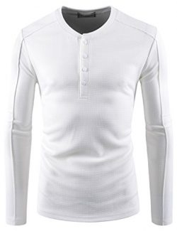 NEARKIN (NKNKTE7003) Mens Slim Cut Look Waffle Pattern Button Up Stretchy Henley Tshirts WHITE U ...